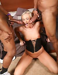 Hot Blondie Taste Two Black Cocks