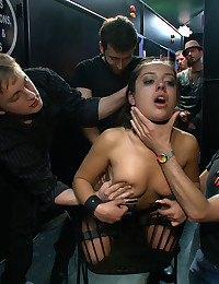 Jynx Maze has her big round ass and perfect tits paraded around a porn store where she is ass fucked and humiliated