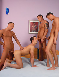 Muscular gay guy foursome