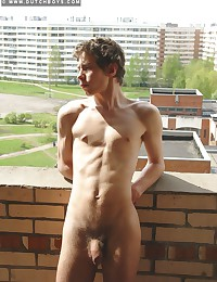 Naked boy jerking