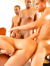 Hotel room gangbang with blon...