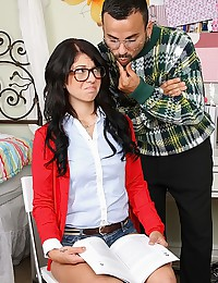 Nerdy Looking Madelyn Gets Sticky Facial
