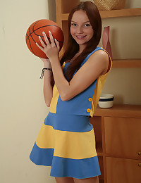 Tiny Miley - Cheerleader takes her uniform off and gets down to pleasuring herself