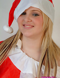 Dream of Ashley - Teen takes her inflatable Santa Claus outfit off showing big real tits