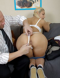 Watch young hottie trying to get her grade. She is not ashamed to show her wonderful slit to perverted teacher.
