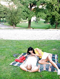 Sexy couple has horny sex in the public park