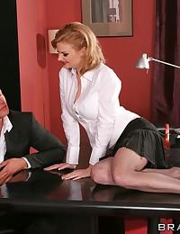 Slender Tarra Boned In The Office