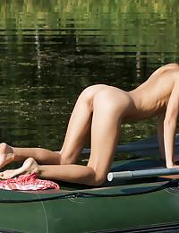 Natasha Shy - Skinny innocent-looking freshie getting some suntan all naked