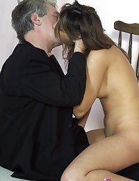 Horny senior with mustache bangs willing brunette hardcore