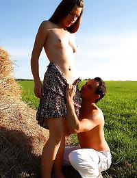 Teen sex in hay field