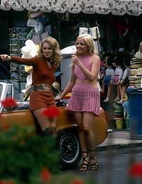 Two retro chicks having fun on the holidays