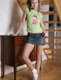 Heather Lightspeed - Pigtailed young slut in sexy jeans mini skirt