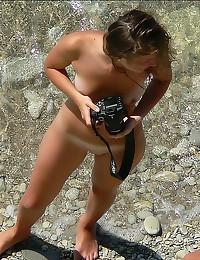 Snapping pics at nude beach