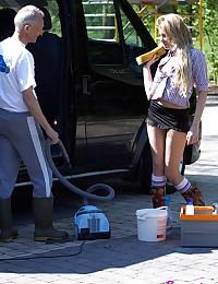 Sexy car cleaning hottie fucks a very horny senior