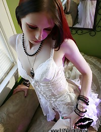 Liz Vicious - White lingerie is a nice choice for the dark-haired goth girl
