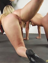 Two exercising and masturbating gym slaves