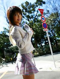 Japanese hottie walks outdoor...