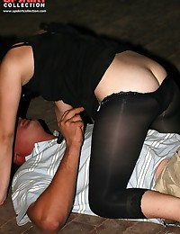 Downblouse upskirt. Funny brunette gets naughty
