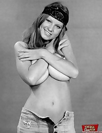 Teenage seventies chick showing her big tits