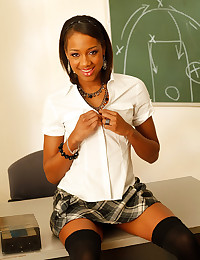 Black schoolgirl striptease