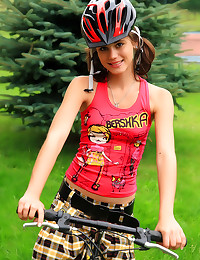 Shaved teen on bike ride