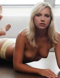 Yellow panties and bra babe