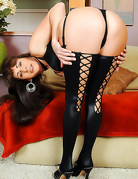 Busty milf in black stockings