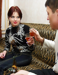 Drunk redhead Russian fucked ...