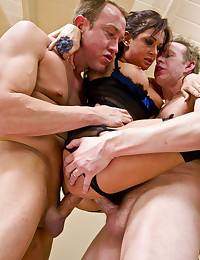 Four guys bang a slut