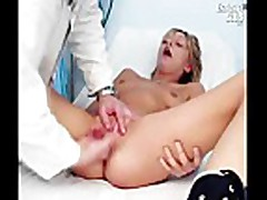 Faye gyno exam with pussy gaping and real orgasm