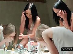 Brunette Teen Lesbo Shaving Girlfriends Hot Pussy