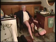 Redhead In Stockings Fucked By Old Stuntcock