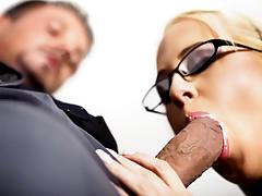 Super hot blonde secretary sucks and fucks this huge cock!