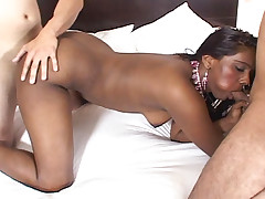 Dark Indian girl fucked in tight pussy by three white guys