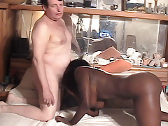 Ebony girl tries out for porn, interrupted by phone call.
