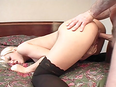 Blonde babe Vanessa Gold in hot anal action in this scene