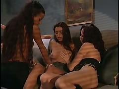 Lesbo Threesome Turns To Strapon Orgy