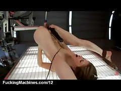 Brunette fucked by robot and sybian until she gets orgasm