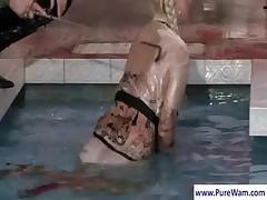 Lesbians gets naughty at pool