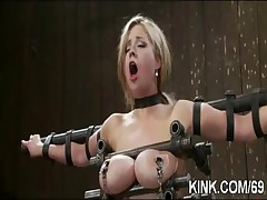 Busty waitress punished and fucked in bondage