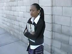 Tiny asian schoolgirl fucks a white guy