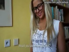 Superb amateur blonde whore Candy Hot asshole pounded in library