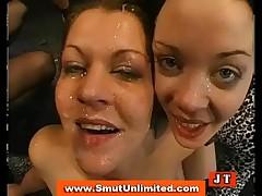 Bukkake brunettes take cum shower