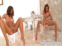 Two russian girls naked outdoor