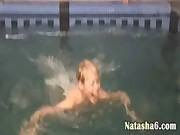 Three russian teens in the pool