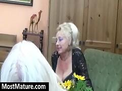 MILF teasing a lesbian granny