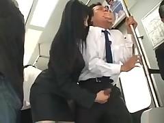 Asian Slut Attacks Guy In A Bus For Hot Handjob