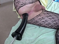 Sissy with fucking machine bangs his ass