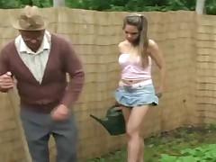 OLD MAN FUCK GIRL IN THE GARDEN