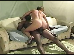 Hot shorthaired woman  her black man in every position